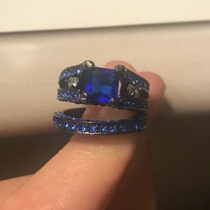 Sapphire ring with matching wedding band